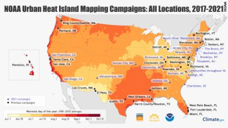 Map of current and previous urban heat island campaigns conducted by NOAA. The coding represents the typical hottest day of the year. The darker the color, the later in the year the hottest day typically arrives.
