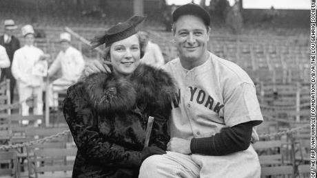"""Gehrig pictured with his wife Eleonora, whom he called a """"strength tower""""  during his farewell speech."""