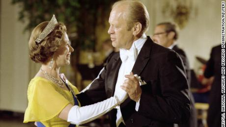 Ford and the Queen dance during a state dinner at the White House in 1976.