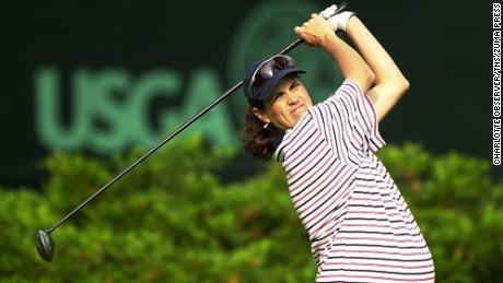 Corrie-Kuehn tees off during the first round of the 56th U.S. Women's Open Championship at Pine Needles Lodge and Golf Club in Southern Pines, North Carolina, on Thursday, May 31, 2001.
