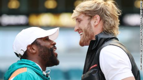 Mayweather and Logan Paul face off.