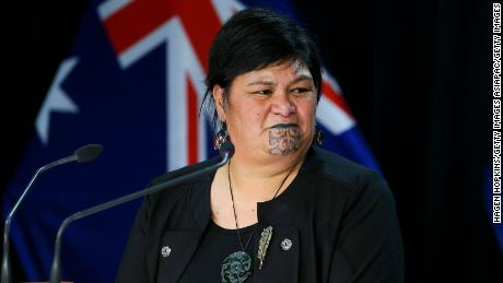 Minister of Foreign Affairs Nanaia Mahuta talks to media during a press conference at Parliament on April 22, 2021 in Wellington, New Zealand.