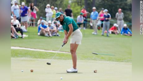 Megha Ganne competes in the Drive, Chip and Putt Championship at Augusta National in April 2019.