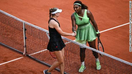 Serena Williams congratulates Kazakhstan's Elena Rybakina at the end of their women's singles fourth round match at the French Open.