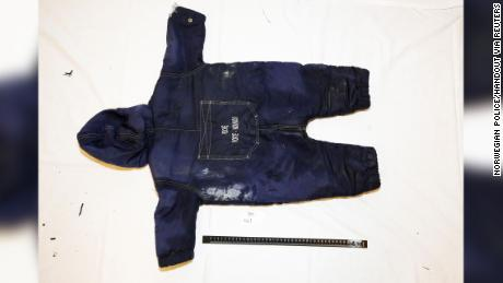 A police handout photo shows clothes belonging to the 18-month old Artin Irannezhad.