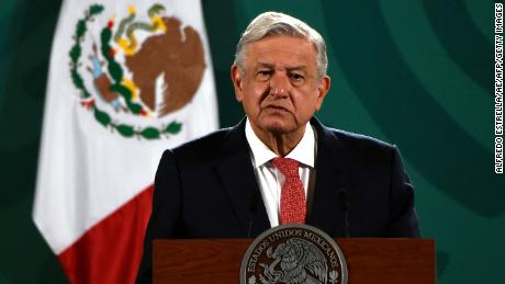 Mexican President Andres Manuel Lopez Obrador holds a press conference on the results of the midterm elections on Sunday 7 June at the National Palace in Mexico City.