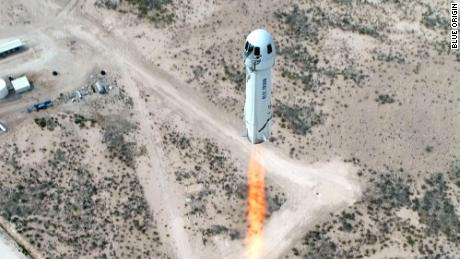 Mission NS-15 lifting off from Launch Site One in West Texas on April 14, 2021.
