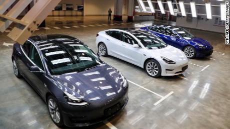 Tesla Model 3s are displayed in Shanghai. (STR/AFP via Getty Images)