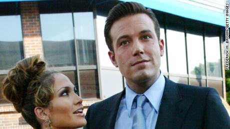 """Jennifer Lopez and Ben Affleck at the premiere of """"Gigli"""" in 2003."""