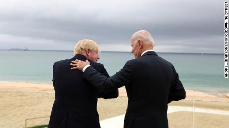 Prime Minister Boris Johnson, left, and US President Joe Biden in Corbys Bay, Cornwall, ahead of the G7 summit on Friday.