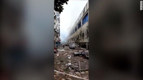 After the explosion in the city of Xi'an in Hubei province.