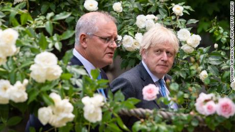 Australian Prime Minister Scott Morrison, left, with UK Prime Minister Boris Johnson in London on June 15, 2021, after the countries struck a trade agreement.