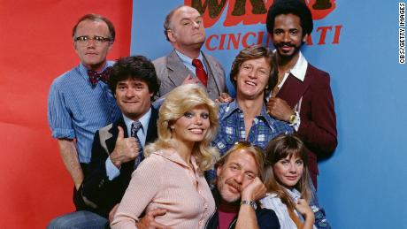 """The cast of """"WKRP in Cincinnati,"""" including Frank Bonner as Herb Tarlek, second from the left."""