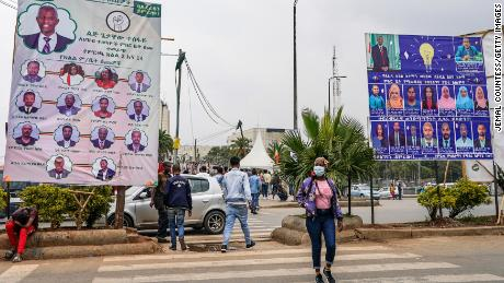 Campaign billboards for the Balderas Party and the Prosperity Party on display in the neighborhood of Piassa on June 14 in Addis Ababa, Ethiopia.