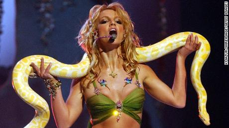 Spears' famous performance at the 2001 VMAs, when the singer's music career was at its peak.
