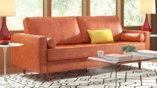All Modern Hailee 84'' Genuine Leather Square Arm Sofa