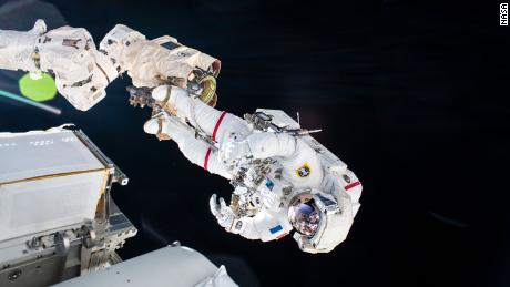 ESA astronaut Thomas Pesquet is pictured during a spacewalk from June 20.