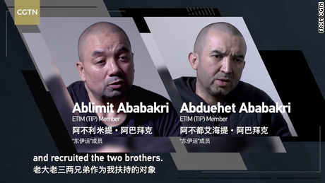 A still image of Ablimit's father and uncle from the CGTN documentary War in the Shadows which was broadcast in April.