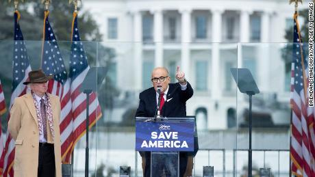 President Donald Trump's personal lawyer Rudy Giuliani speaks to supporters from The Ellipse near the White House on January 6, 2021.