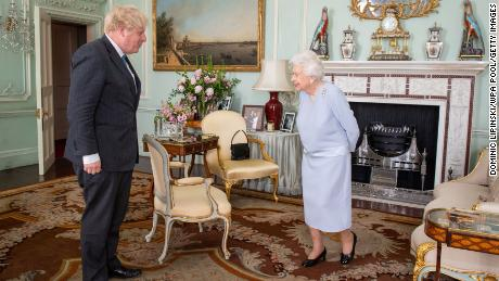 The meetings between the Queen and Prime Minister are usually closed-door events with the conversation unrecorded but cameras were allowed in for the start of the face-to face on this occasion.