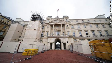 Building work takes place on the East Wing and Quadrangle of Buckingham Palace in London, part of the 10-year refurbishment programme for the royal residence.