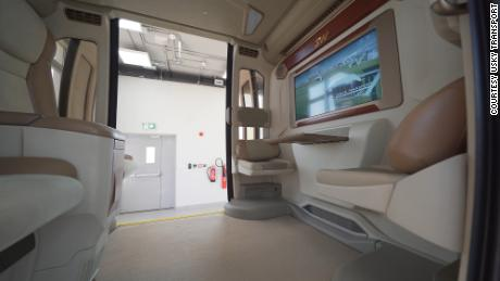The interior of the uSky pod currently being tested in Sharjah, UAE.