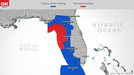 The storm is expected to make landfall Wednesday over the northern Florida Gulf Coast, according to the National Hurricane Center