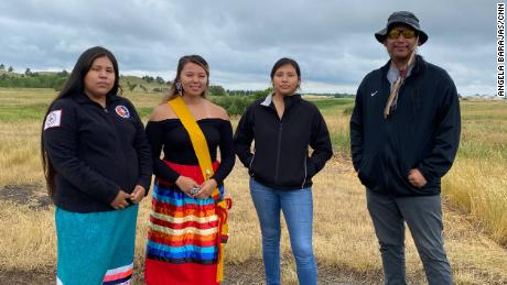 Rachel Janice, Asia Ista G Win Black Bull, Malory Arrow and Akchita Sikala Hoxilla Eagle Bear (left to right) are some of the Rosebud Sioux Tribe youth council members who encouraged tribal leaders to negotiate the repatriation of buried children. Kia Carlisle Indian Industrial School.