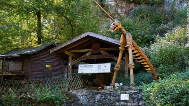 This is the public entrance to the Einhornhöhle cave, the Unicorn cave in English, in the Harz Mountains, Germany, where the tiny piece of engraved bone was found.