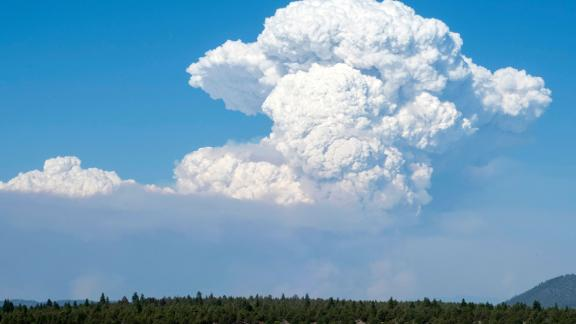 A pyrocumulus cloud from the Bootleg Fire drifts into the air Friday near Bly, Oregon.