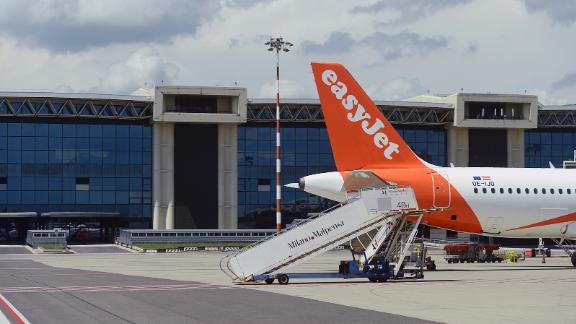 An EasyJet plane on the tarmac at Malpensa Airport on June 29, 2021 in Milan, Italy.