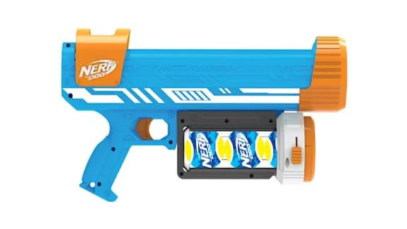 Nerf Ultra Blaster with White Stripes and Canister Dog Toy, Medium