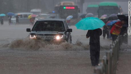 A heavy downpour in Zhengzhou, central China's Henan province on July 20, 2021.