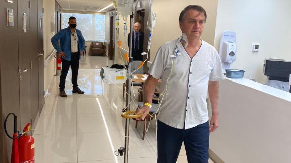 Brazilian President Jair Bolsonaro shares a photo of himself in the hospital on July 16.