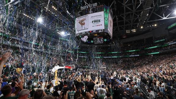 The boisterous crowd at Fiserv Forum.