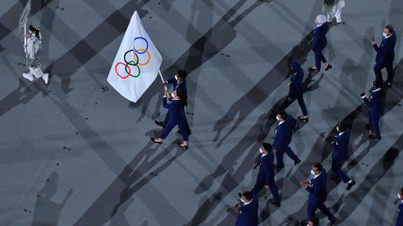 Members of the Refugee Olympic Team march during the parade of nations.