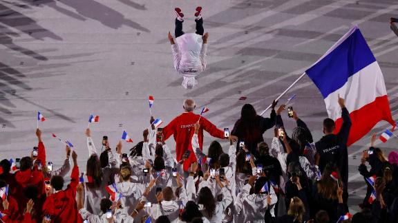 French athletes march during the opening ceremony.