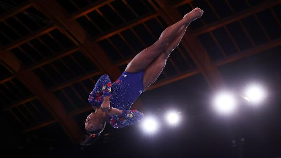 American gymnast Simone Biles performs on the vault during the qualification round on July 25. The team all-around final is Tuesday, and the Americans will look to defend the gold they won at the 2016 Games in Rio de Janeiro.
