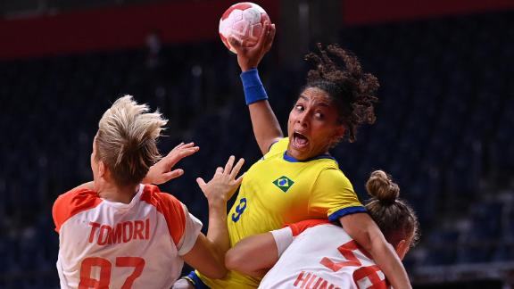 Brazil's Ana Paula Rodrigues Belo attempts to shoot during a handball match against Hungary on July 27.