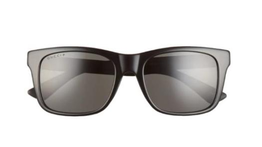Gucci 55mm Polarized Rectangular Sunglasses