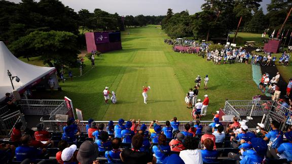 Japanese golfer Rikuya Hoshino tees off to start his first round on July 29. The Olympic golf is taking place at the Kasumigaseki Country Club in Kawagoe, Japan.