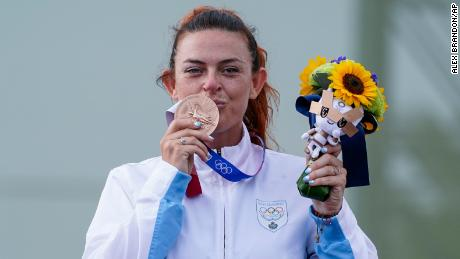 Perilli celebrated her bronze finish, paying homage to her team and her country after the medal ceremony.