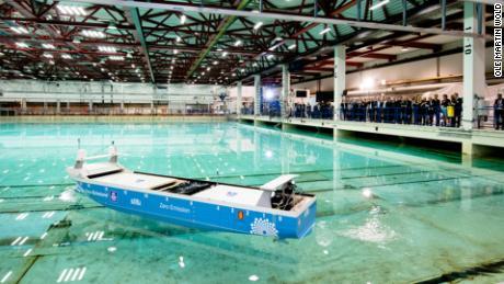 A model launch of the zero-emission ship Yara Birkeland.