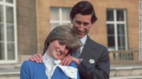 Diana and Charles pose at Buckingham Palace after announcing their engagement on February 24, 1981.