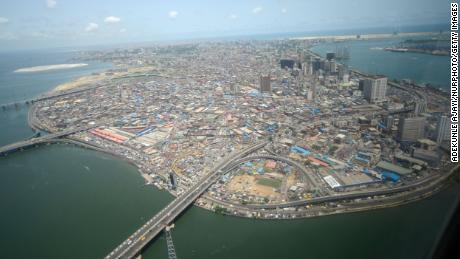 An aerial view of Lagos Island in Lagos, the commercial capital of Nigeria, in April 2016.