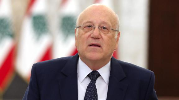 NajibMikati, Lebanon's prime minister designate, speaks during a news conference at the Presidential Palace in Beirut, Lebanon, on Monday, July 26, 2021.