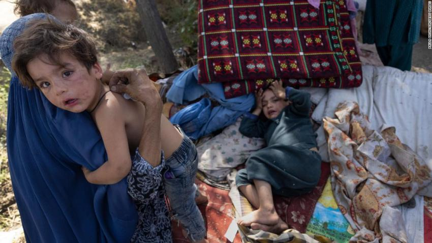 Displaced Afghans from the country's northern provinces arrive at a makeshift camp in Kabul on August 10. Provincial capitals in the north were among the first to fall to the Taliban.