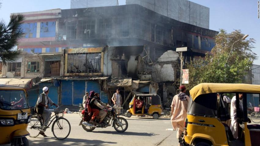 """Shops in Kunduz, Afghanistan, are damaged after fighting between Taliban militants and Afghan military forces on August 8. Kunduz was <a href=""""https://www.cnn.com/2021/08/08/asia/afghanistan-taliban-kunduz-intl/index.html"""" target=""""_blank"""">the first major city to fall to the Taliban</a> since they began their offensive in May."""