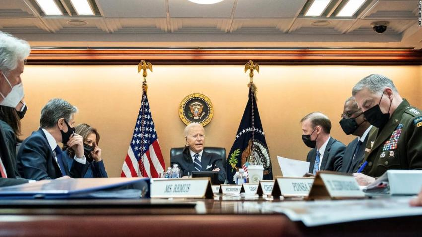 In this photo released by the White House on August 18, US President Joe Biden and Vice President Kamala Harris are briefed by their national security team on the evolving situation in Afghanistan.