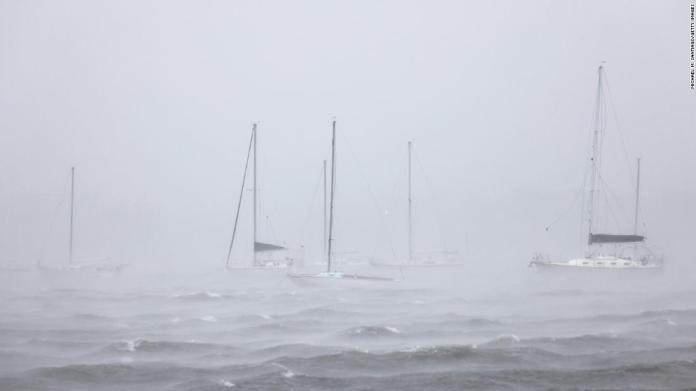 Docked boats are seen in New London, Connecticut, as Tropical Storm Henri prepared to make landfall on August 22.
